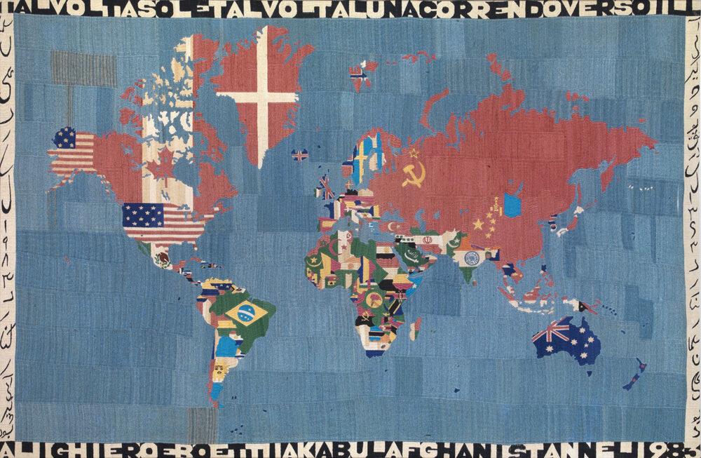 AlighieroBoetti Mappa, 1983 broderie sur tissu 115 x 78 cm