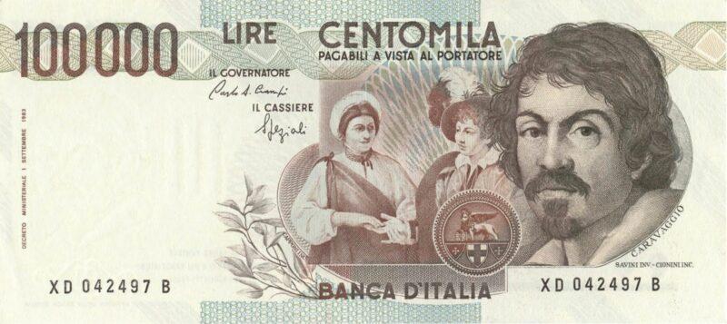 La bella banconota da 100.000 lire.