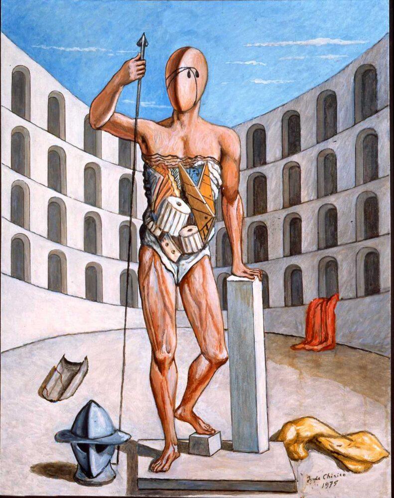 Gladiatore nell'arena, 1975, olio su tela, cm. 90 x 70, Fondazione Giorgio e Isa de Chirico, Roma