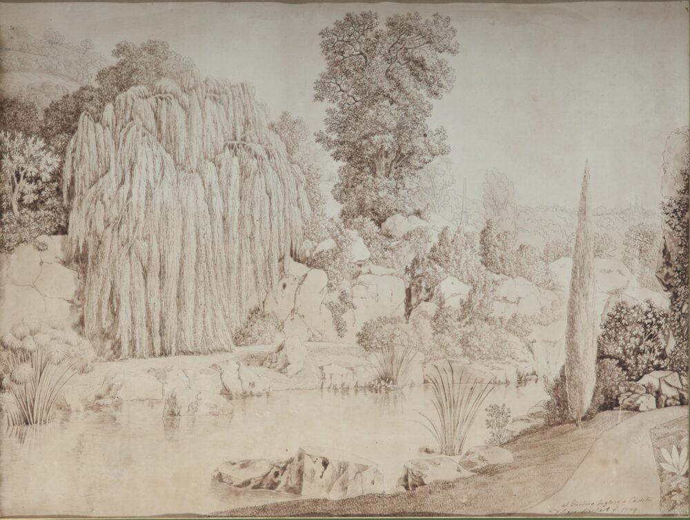 l raffinato disegno del grande artista paesaggista Jakob Philipp Hackert dal titoloIl giardino inglese a Caserta