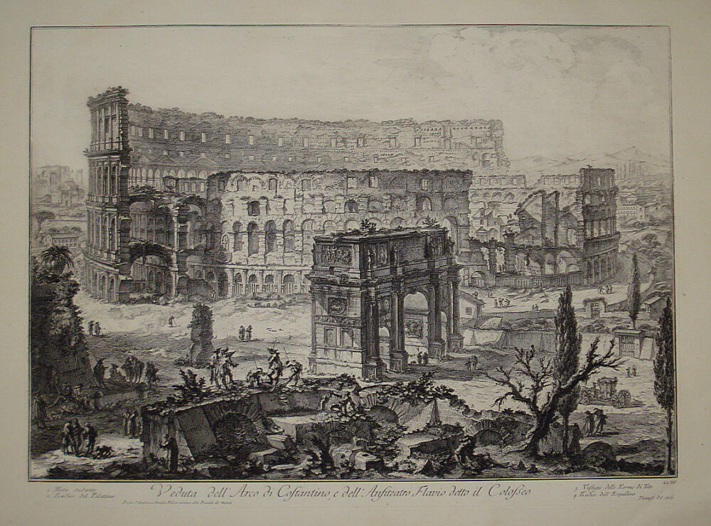 Il Colosseo e l'Arco di Costantino in un'incisione di Giovan Battista Piranesi