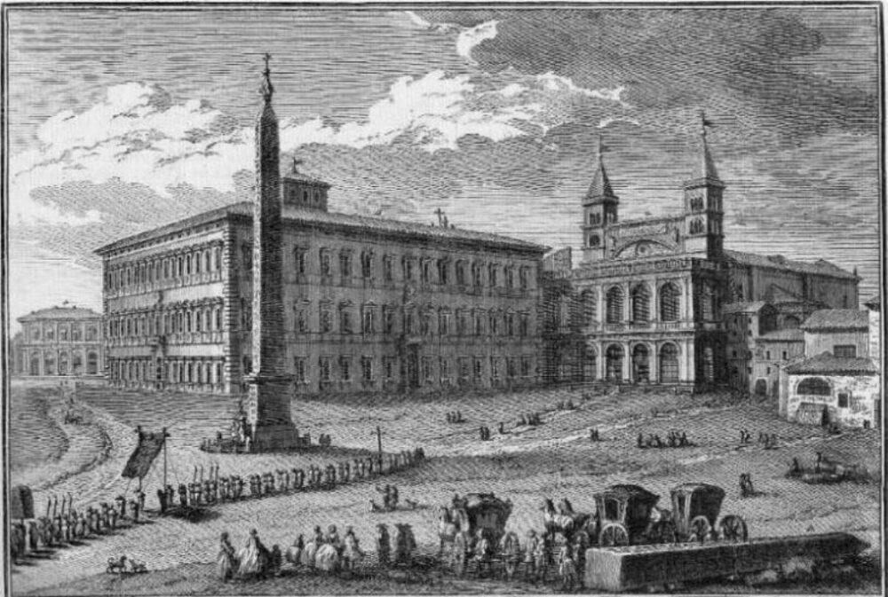 Il Palazzo del Laterano in un'incisione di Giuseppe Vasi