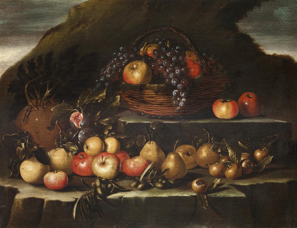 Pseudo Salini (attivo tra il secolo XVII e XVIII), Natura morta di frutta all'aperto su due piani di roccia, olio su tela, cm 73x96,5. Provenienza: Collezione Cesare e Gina Romiti Valutazione: € 14.000 - 16.000
