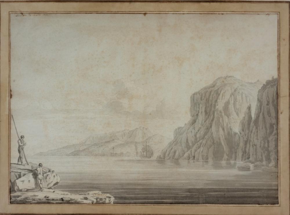 JAKOB PHILIPP HACKERT (Prenzlau, 1737 - San Pietro di Careggi, 1807), Veduta di Capri da Marina Grande verso la Punta di Tiberio, Firmato in basso a sinistra e localizzato e datato Sur l'Isle de Capria 1770 in alto a sinistra, Gesso nero e acquerello grigio e matita al piombo su carta, cm 37,3X52,5. Stima € 1.500 - 2.500