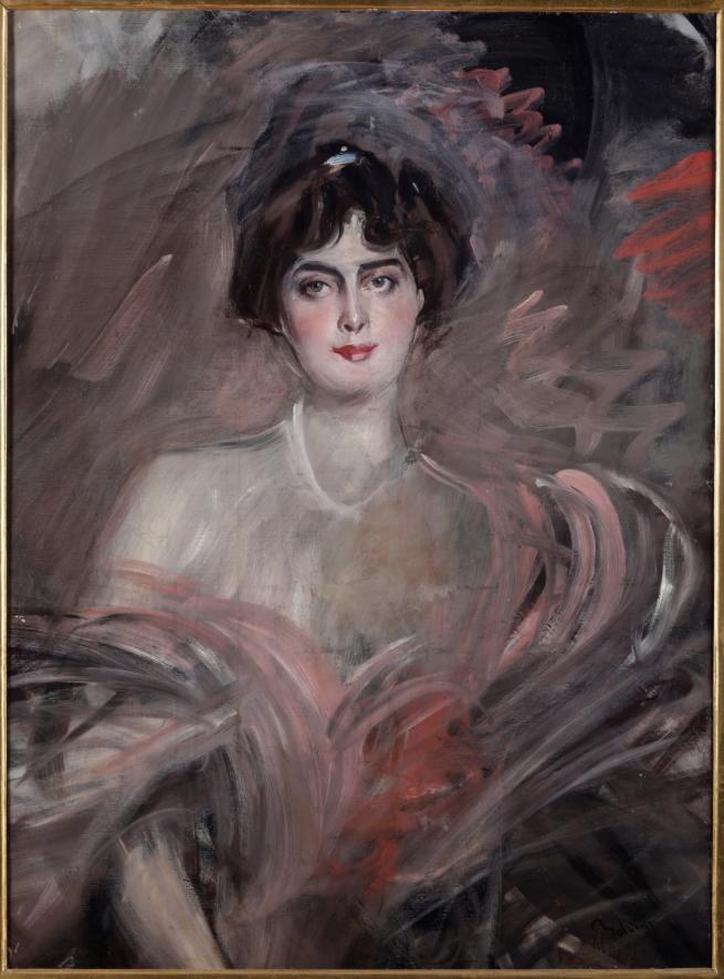 iovanni Boldini (1842 - 1931) Ritratto di Mademoiselle Emilienne Le Ro y, 1912 circa olio su tela, cm 97,5x71,5, firmato in basso a destra Boldini. Numerato al retro 29T da Emilia Cardona, vedova dell'artista