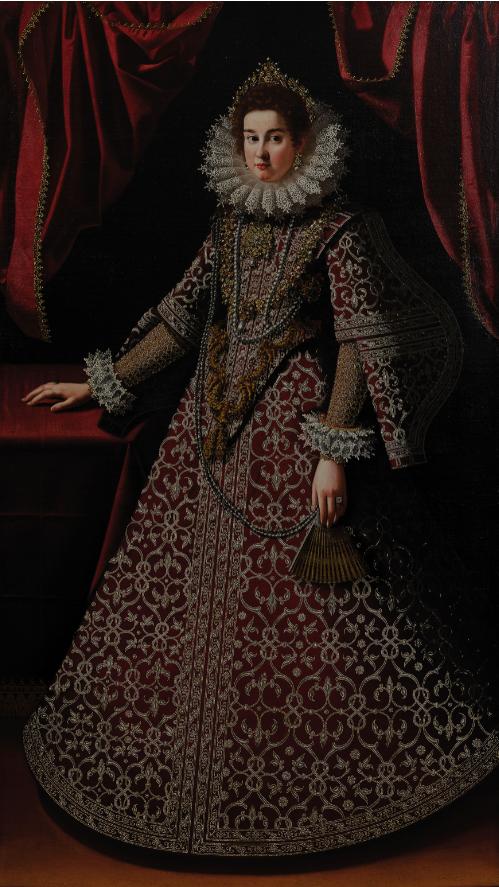 PITTORE DEL XVI SECOLO, Ritratto di dama, Olio su tela, cm 207,5X117,5. Stima € 5.000 - 8.000