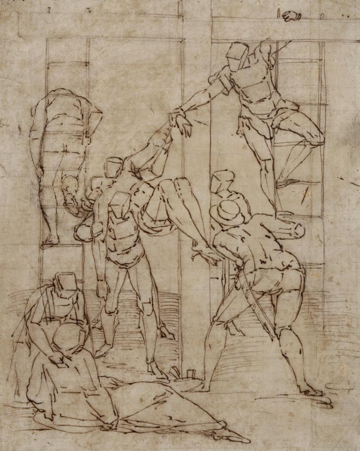 Luca Cambiaso (Moneglia 1527 - Madrid El Escorial 1585) Discesa dalla croce penna e inchiostro bruno su carta, mm 315x252 Reca numero di inventario in alto a sinistra Stima: 6.000 - 8.000 eur