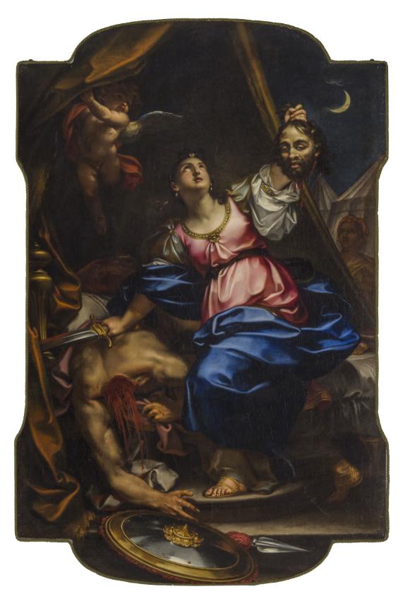 PAOLO GEROLAMO PIOLA (Genova, 1666 - 1724), Giuditta e Oloferne, Olio su tela, cm 232,5X150,5. Stima € 8.000 - 12.000