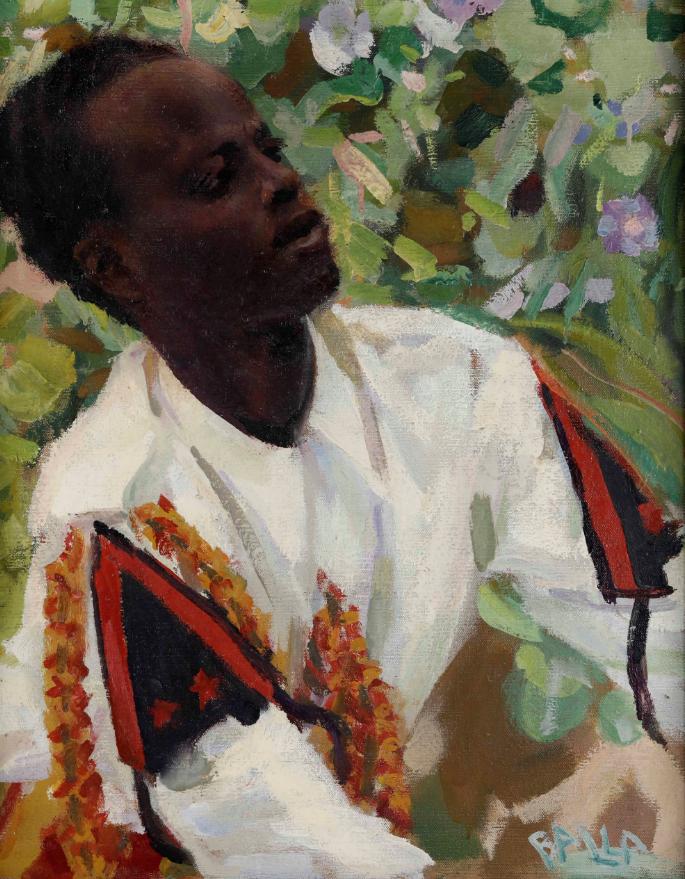 Giacomo Balla (1871 - 1958) Alì olio su tela cm. 61,5x49 firmato in basso a destra Esposizioni: II Mostra Internazionale d'Arte Coloniale, Napoli, 1934 Stima: 25.000 – 30.000 eur