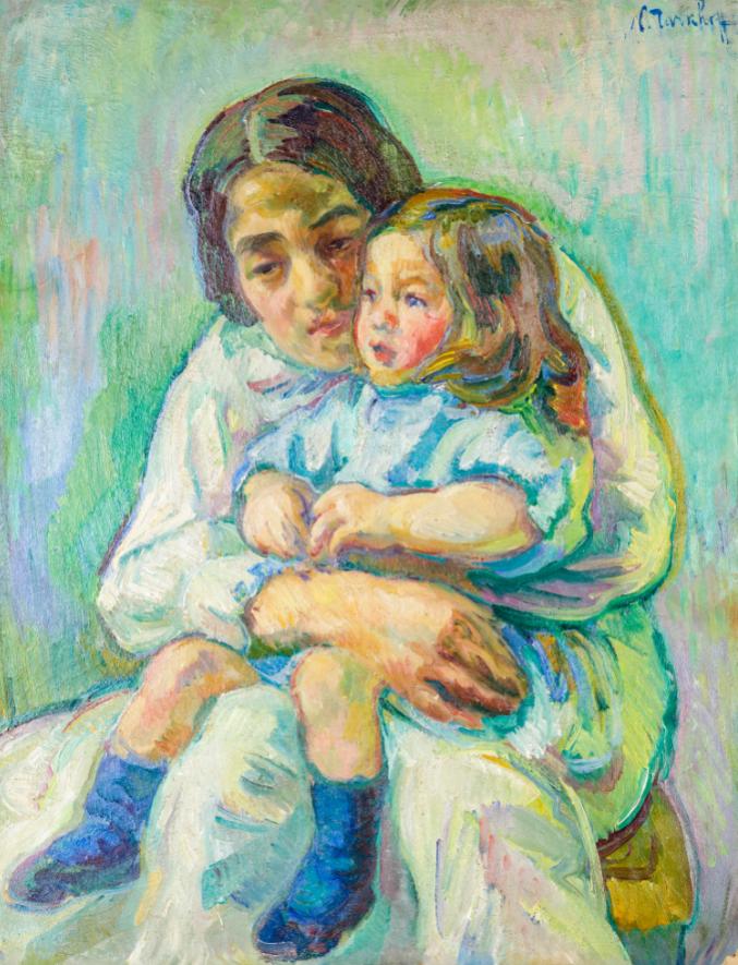 Nicolas Tarkho ff (1871-1930) Maternità, 1906-1907 olio su cartoncino applicato su tela, cm 80x61,5 fi rmato in alto a destra Stima: 25.000 - 30.000 eur