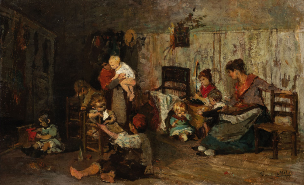 ALESSANDRO MILESI, Venezia, 1856 - 1945, La nidiata, Firmato Venezia A Milesi e datato 1886 in basso a destra, Olio su tela, cm 49X73. Stima € 4.000 - 6.000