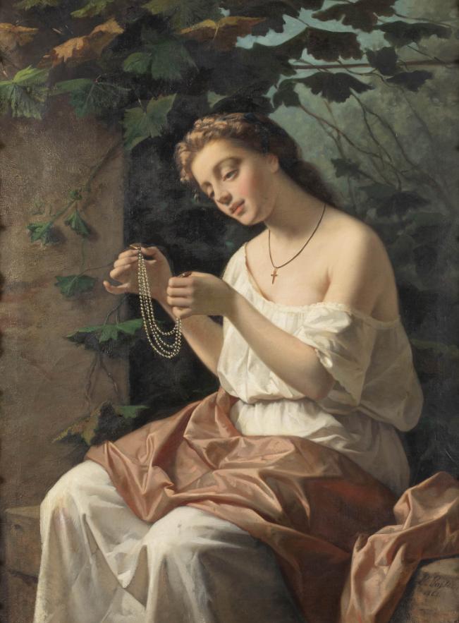 LEONARDO GASSER (Firenze 1831 - dopo il 1892), Figura di donna Firmato L Gasser e datato 1862 in basso a destra, Olio su tela, cm 117X89,5. Stima € 5.000 - 7.000
