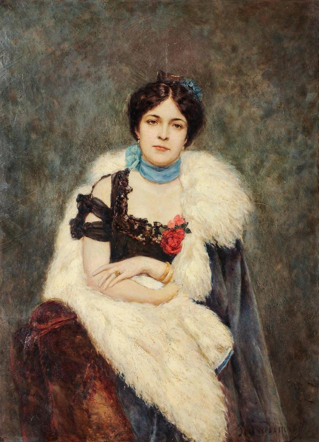 Pavel Alexandrovich Svedomsky (San Pietroburgo 1849 - Davos 1904) Ritratto di Anna Nikolaevna Kutukova, consorte di A.A. Svedomsky olio su tela, cm 120x87, fi rmato in basso a destra Stima: 10.000 - 12.000 euro