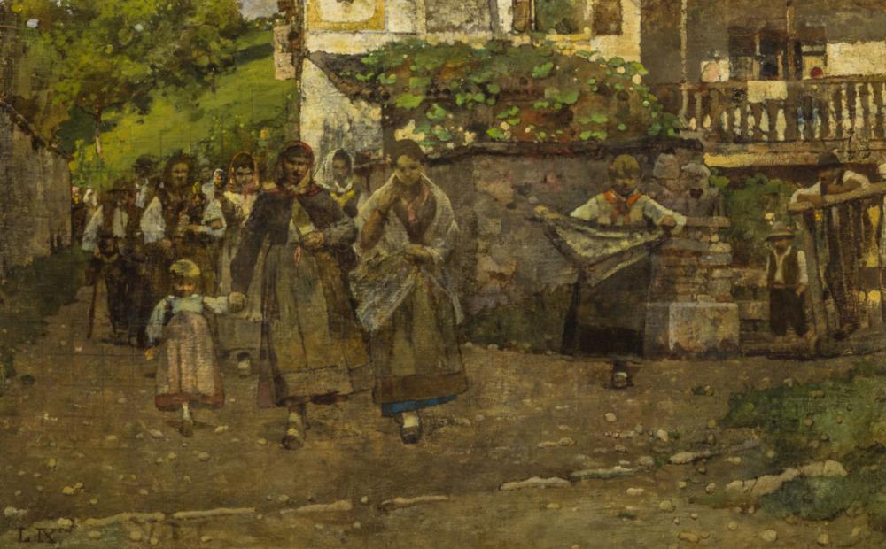 LUIGI NONO (Fusina, 1850 - Venezia, 1918), Ritorno dalla messa, Firmato L IX in basso a sinistra, Olio su tela cm, 43X69. Stima € 8.000 - 10.000