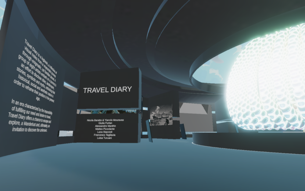Travel Diary, installation view Courtesy Snark.art e Decentraland
