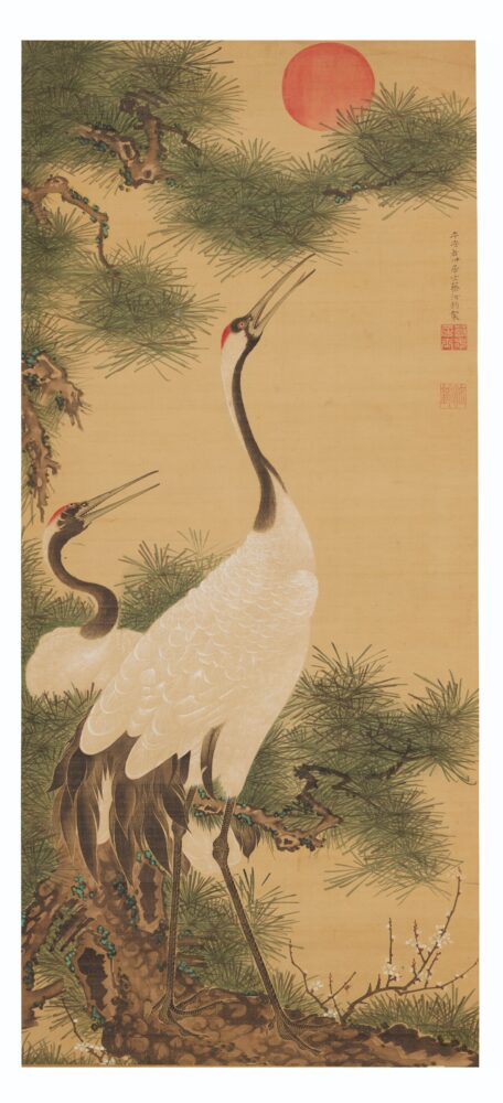 Ito Jakuchu, Pair of Cranes and the Rising Sun