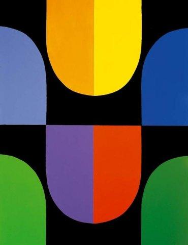 Lia Drei, operazione modulare-spaziocromatica, acrilico su tela, 200x150 cm, 1963