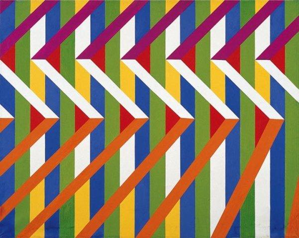 Lia Drei, struttura-b2, acrilico su tela, 80 x 100 cm, 1968