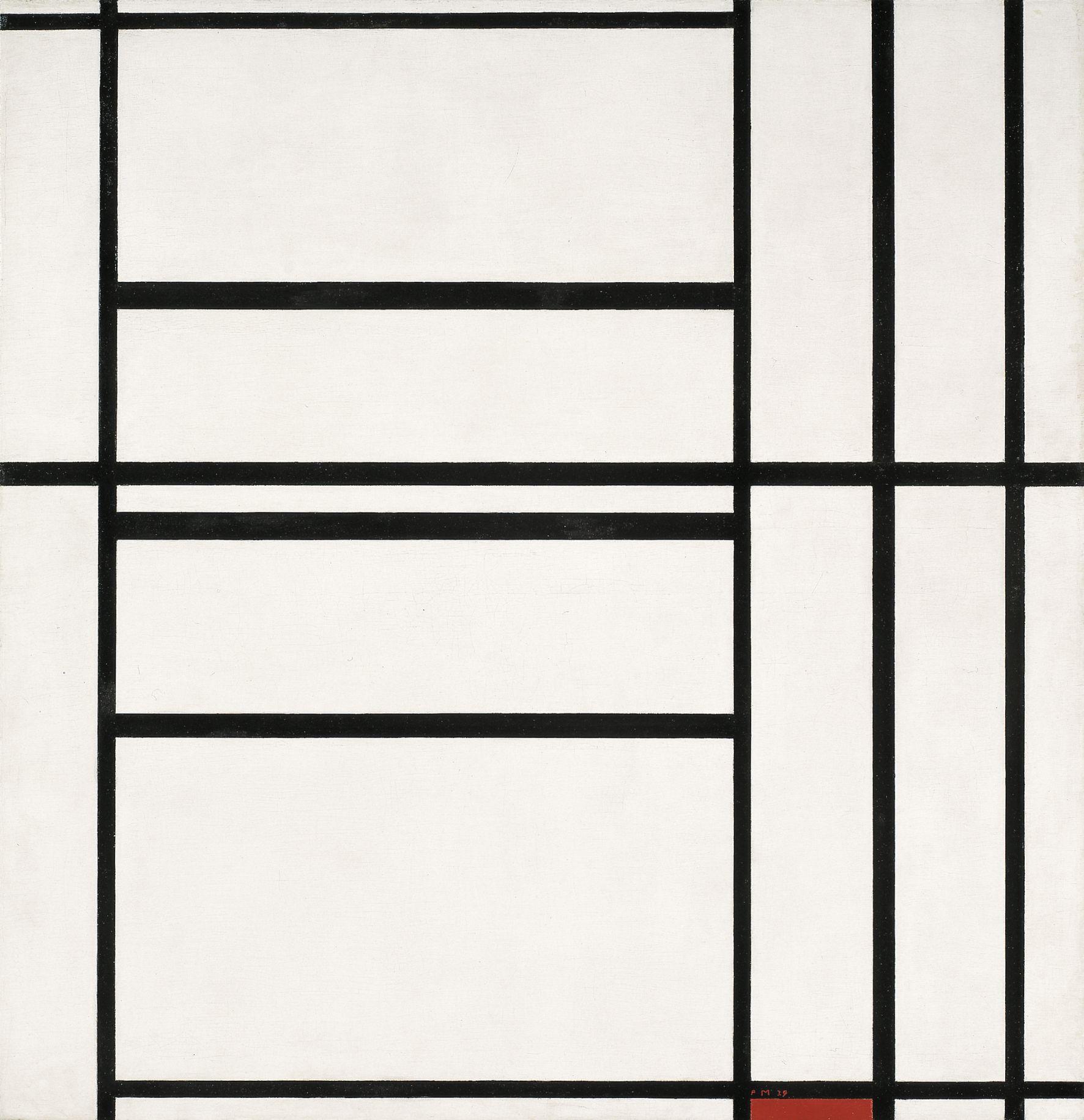 Indagine su Composizione n.1 con Grigio e Rosso del 1938 di Piet Mondrian