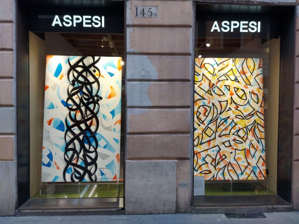 Opere di eL Seed nello store Aspesi in via del Babuino a Roma