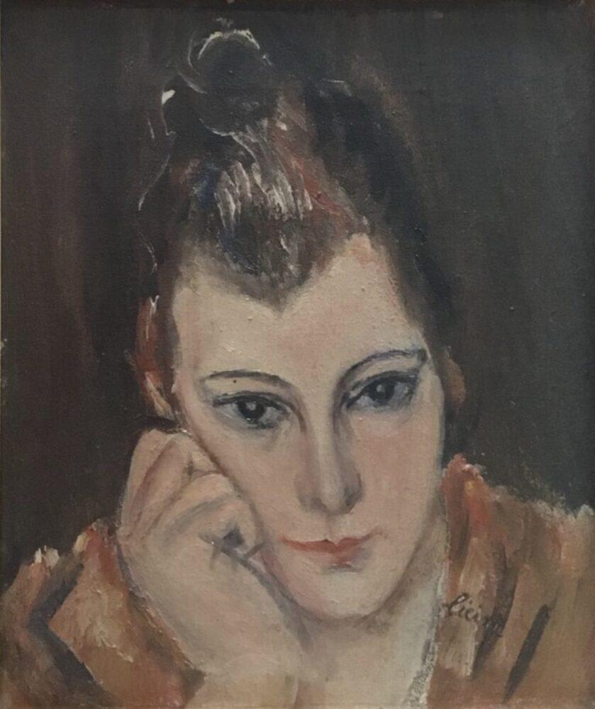 Osvaldo Licini, Ritratto della madre con la mano sulla guancia, 1923