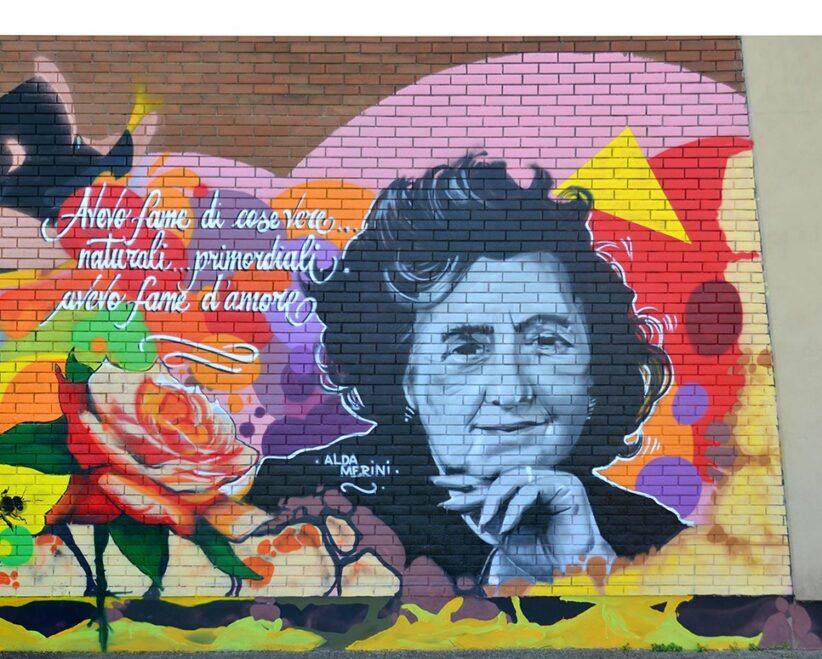 Il ritratto di Alda Merini, dettaglio del murale