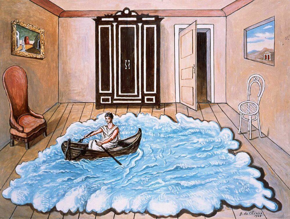 Ritorno di Ulisse, 1968, olio su tela, cm. 59,5 x 80, Fondazione Giorgio e Isa de Chirico, Roma
