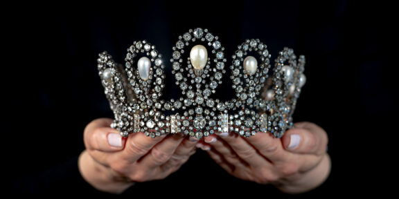 Royal Tiara in natural pearl and diamonds - Sotheby's Geneva 11 May - $1-1 (credit: Sotheby's)