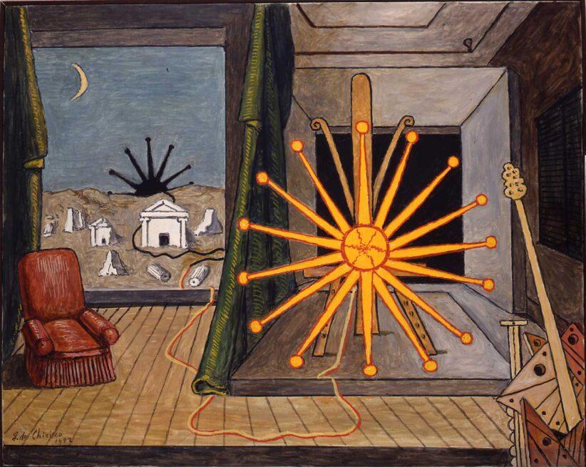 Sole sul cavalletto 1972, olio su tela cm 65x81, Fondazione Giorgio e Isa de Chirico, Roma