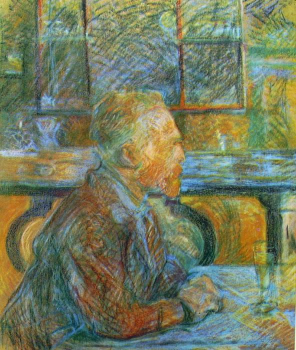 Toulouse-Lautrec, Ritratto di Van Gogh, cm. 54 x 45, Sedelijk Museum, Amsterdam.