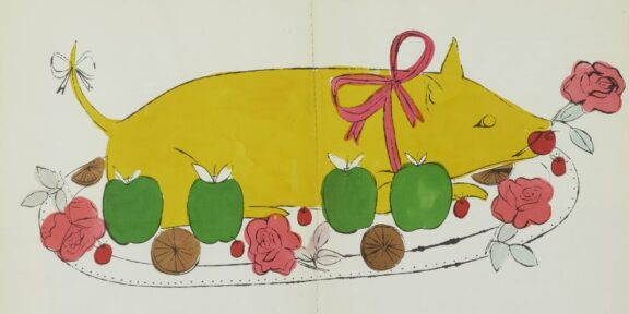 "Andy Warhol and Suzie Frankfurt, Wild Raspberries (1959), recipe for ""Piglet."" Photo courtesy of Bonhams New York."