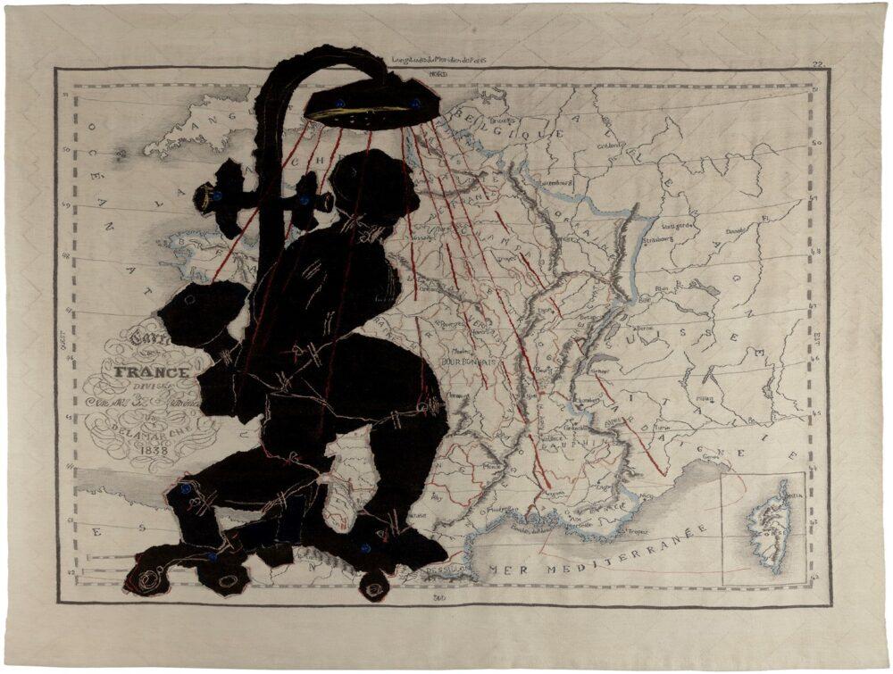 "William KENTRIDGE ""Porter Series: Carte de France Divisee"", 2006 hand woven mohair tapestry Edition 3/5 230 x 340 cm"
