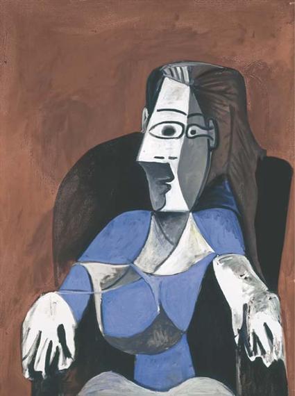 Pablo Picasso,  Femme assise dans un fauteuil noir (Jacqueline), 1962