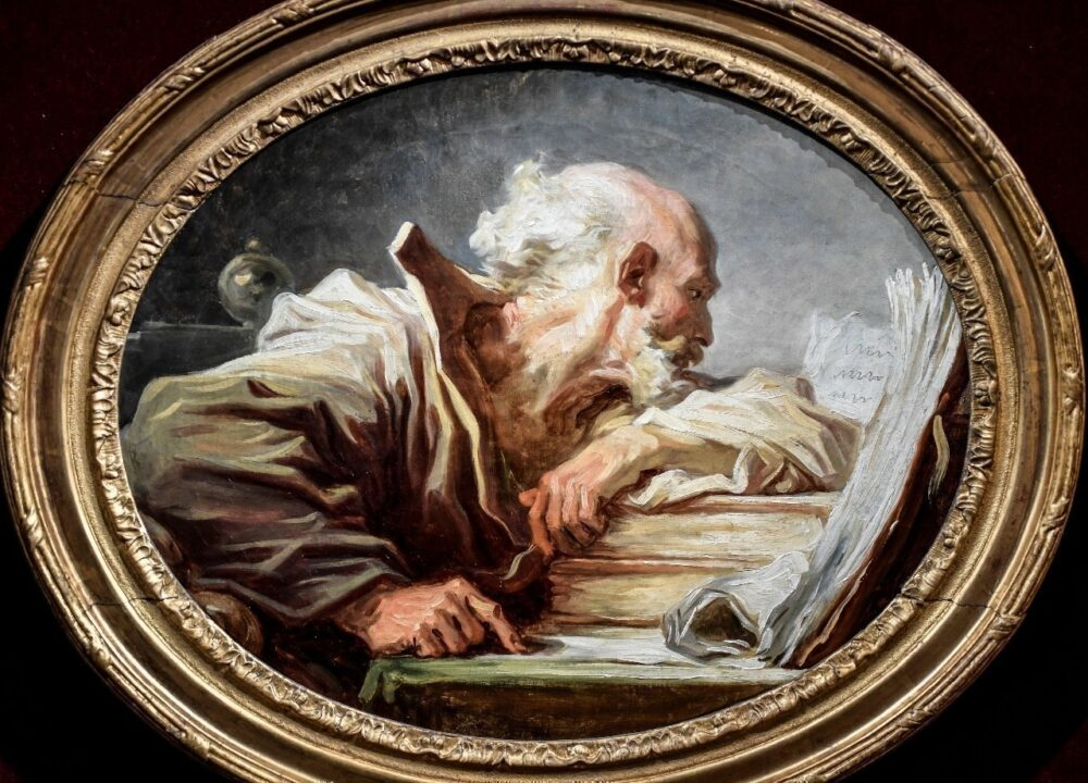 """Philosofe Lisant"" di Jean-Honoré Fragonard"