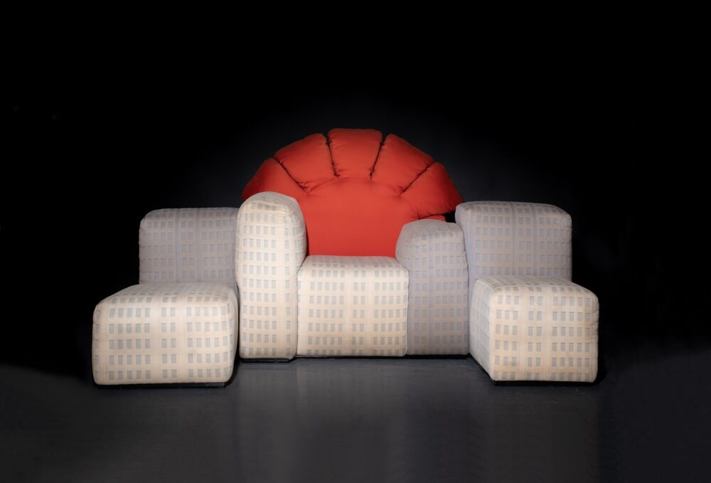 """Gaetano Pesce, Canapé modèle 356 dit « Tramonto a New York »  Sofa model 356 """"Tramonto a New York"""" (sunset in New York) Black lacquered metal base, wooden frame upholstered with original fabric - 116 x 228 x 90 cm  Produced from 1983 to 1992, there are only 42 pieces. Estimate: 8,000 - 10,000 euros"""