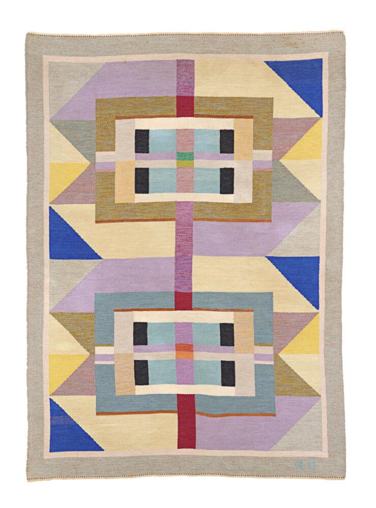 Agda Österberg (1891-1987) Tapis plat en laine tissé à la main signé AÖ Suède, années 1960 215 cm x 305 cm Courtesy Galerie Eric Philippe