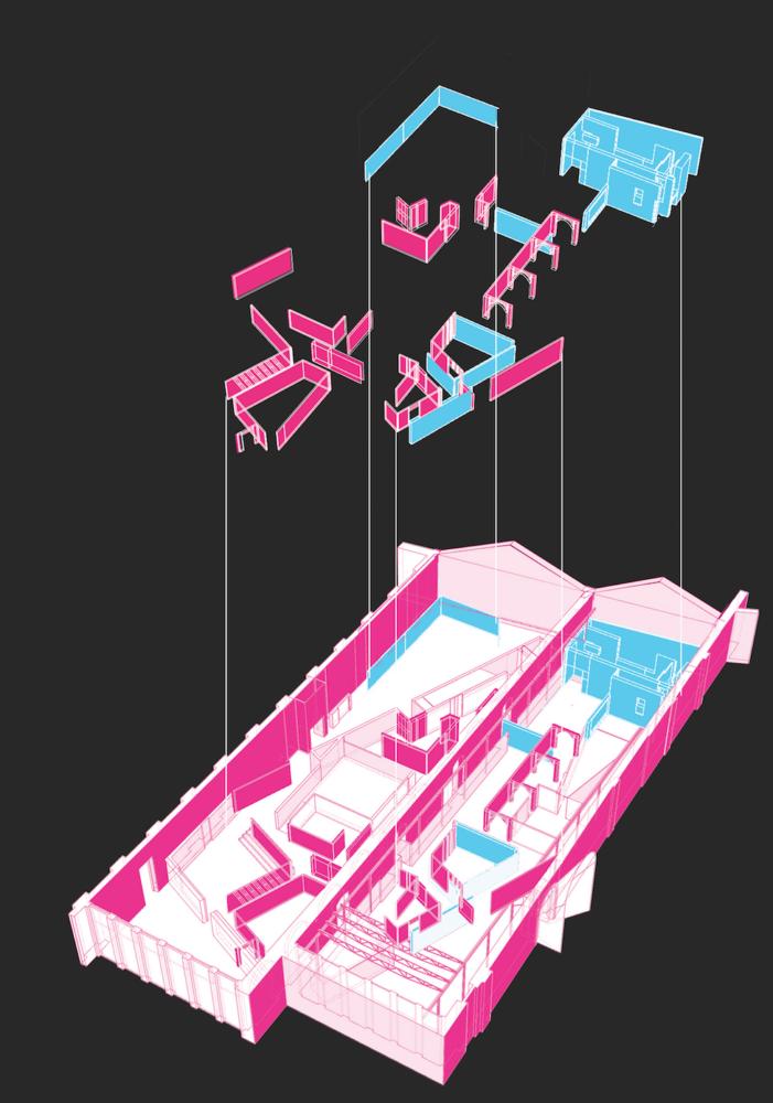 Padiglione Italia a basso impatto ambientale. Assonometria che mostra il riutilizzo dei materiali provenienti dal Padiglione Italia 2019 per la 58. Esposizione Internazionale d'Arte della Biennale di Venezia