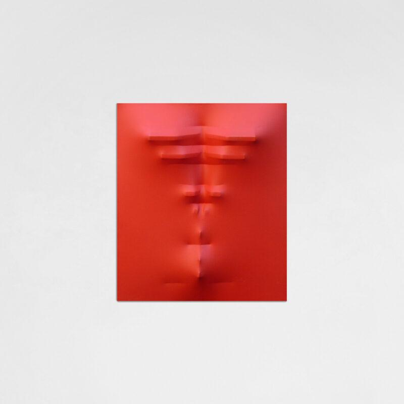 AGOSTINO BONALUMI, Rosso, 1972, tela estroflessa e tempera vinilica, 70x60 cm