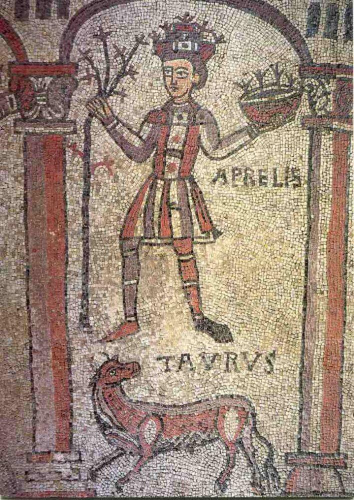 Anonimo lombardo, Il mese di aprile, XII Secolo, Basilica di San Colombano, Bobbio