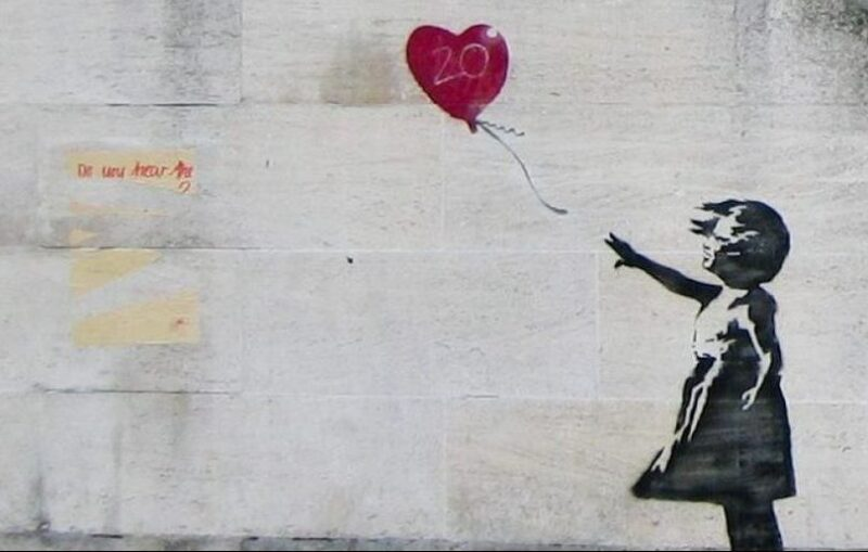 Banksy, Girl and Heart Balloon