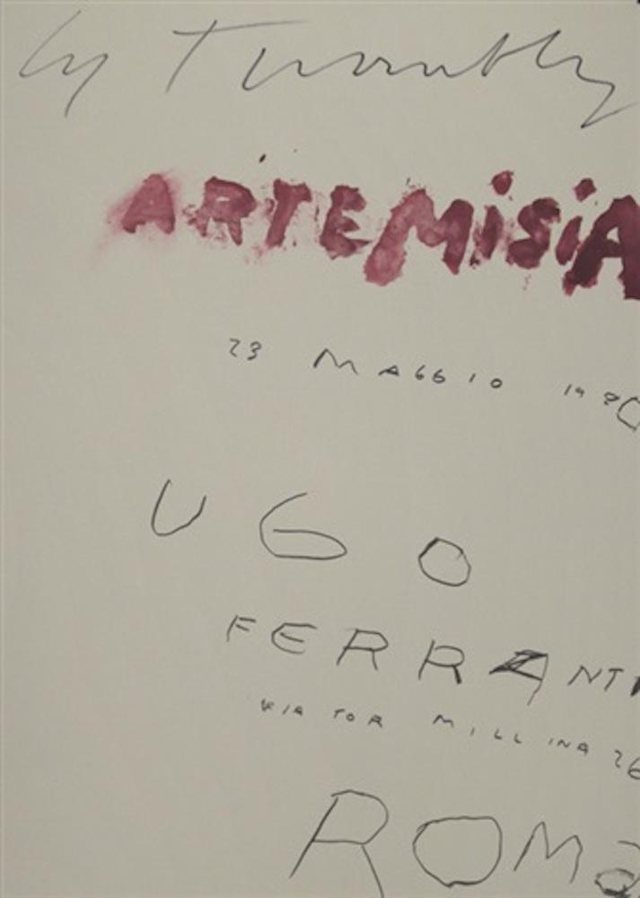 Cy Twombly, copertina Artemisia Gentileschi, Galleria Ferranti, Roma, 1980