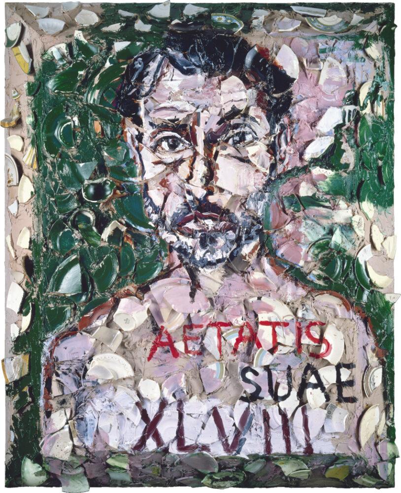 Julian Schnabel, ritratto di Gian Enzo Sperone, 1988, olio su piatti rotti