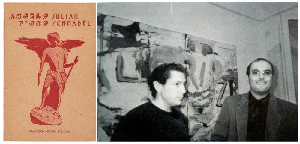 """Julian Schnabel, copertina catalogo """"Angelo d'oro"""", 1985, Roma Galleria Gian Enzo Sperone, e foto di Schnabel e Ceccobelli"""