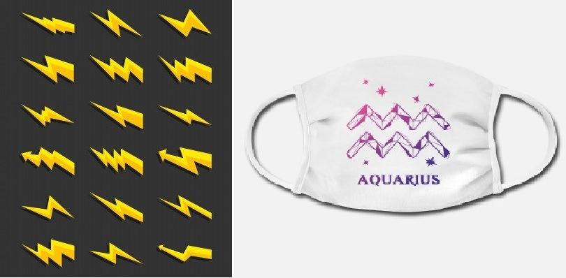 Simbolo dell'elettricità e simbolo astrologico dell'Acquario su mascherina chirurgica