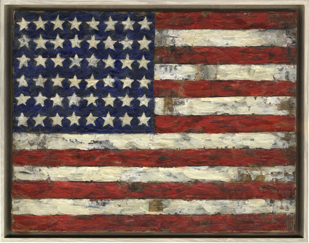 Elaine Sturtevant John's Flag , 1966 Encaustic and collage on canvas mounted on b oard , 34 x 44 cm Collection Thaddaeus Ropac, London/Paris/Salzburg © Sturtevant Estate, Paris Image: © Sturtevant Estate, Paris; Photo: Ulrich Ghezz