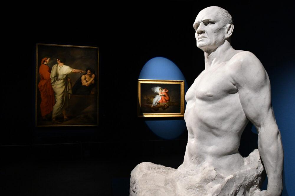 """SEZIONE 12 """"NOI VEGGIAM COME QUEI C'HA MALA LUCE LE COSE"""". FARINATA DEGLI UBERTI CARLO FONTANA Farinata degli Uberti, 1901 -1903 Roma, Galleria Nazionale d'Arte Moderna e Contemporanea CAMILLE BOIRY Dante all'Inferno (Dante, all'Inferno, incontra Farinata), 1899 Tours, Musée des Beaux -Arts"""
