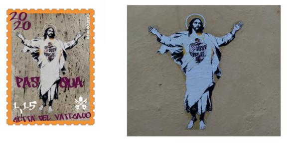 IL francobollo del Vaticano e il murales di Alessia Babrow