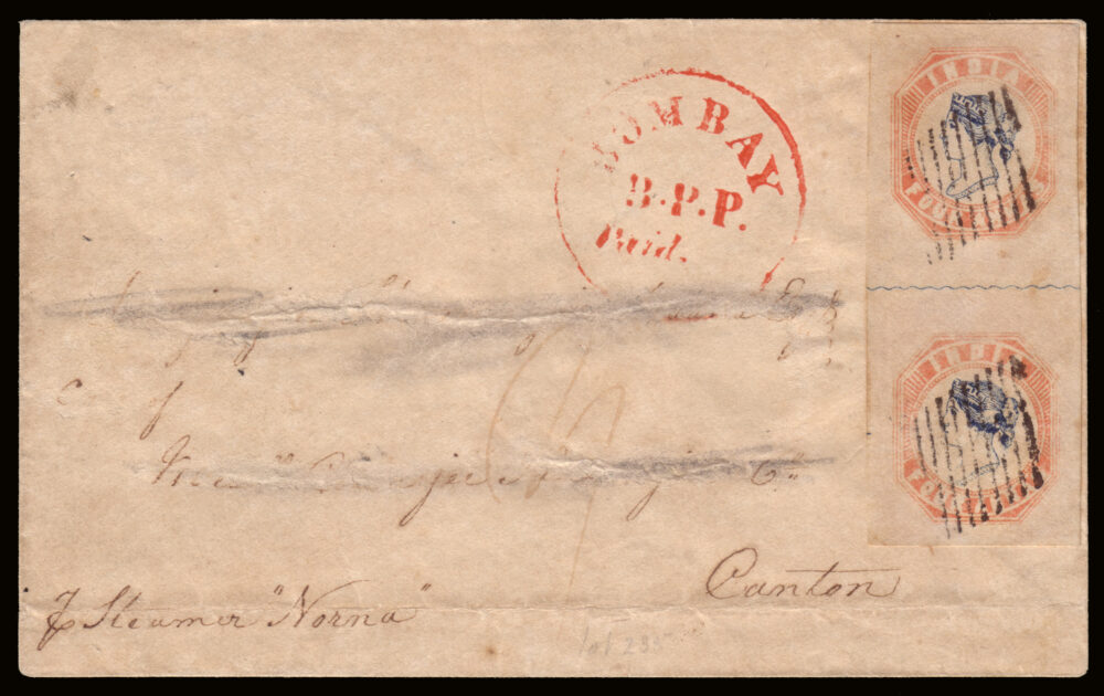 """Lotto 2057: INDIA 1855, cover from Bombay, via Hong Kong, to Canton (China), per steamer """"Norma"""", franked with a pair of 4a. blue and pale red. Provenance: the Romano Padoan collection. Venduto € 37.500"""