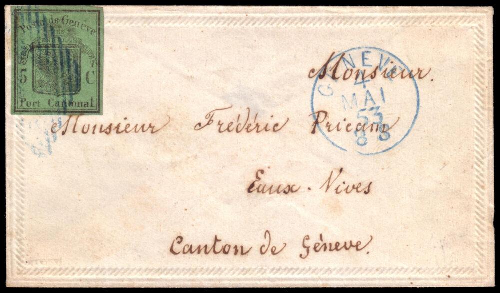 """Lotto 2479: SVIZZERA 1853 (4 mag.), Ginevra, busta da Ginevra per Eaux-Vives affrancata con 5c. verde scuro """"Aquila grande"""". Cert. F. Moser. Venduto: € 15.000"""