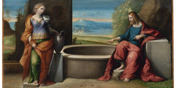 """Lotto 150 Benvenuto Tisi, detto il """"Garofalo"""" (Ferrara, 1481 - 1559) Cristo e la samaritana al pozzo Olio su tavola, cm 56x102 Valutazione: € 22.000 - 28.000"""